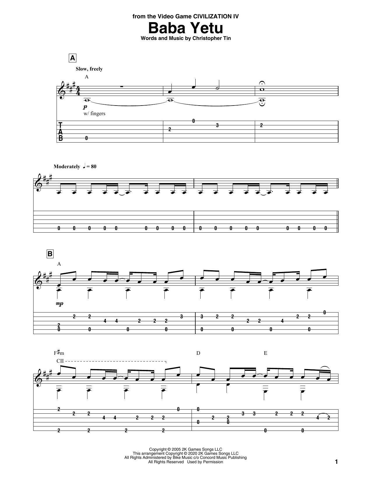 Baba Yetu (from Civilization IV) Sheet Music