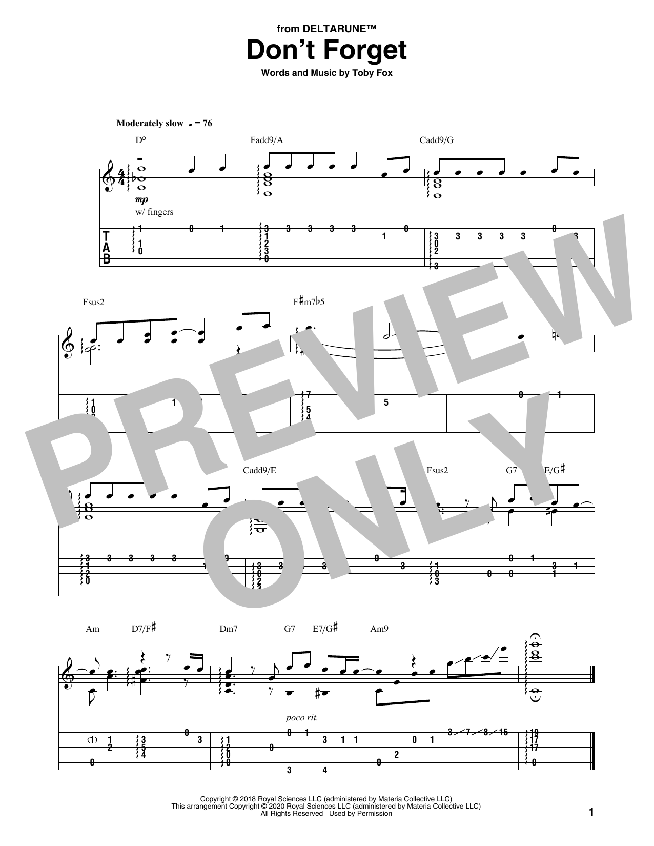 Don't Forget (from Deltarune) Sheet Music