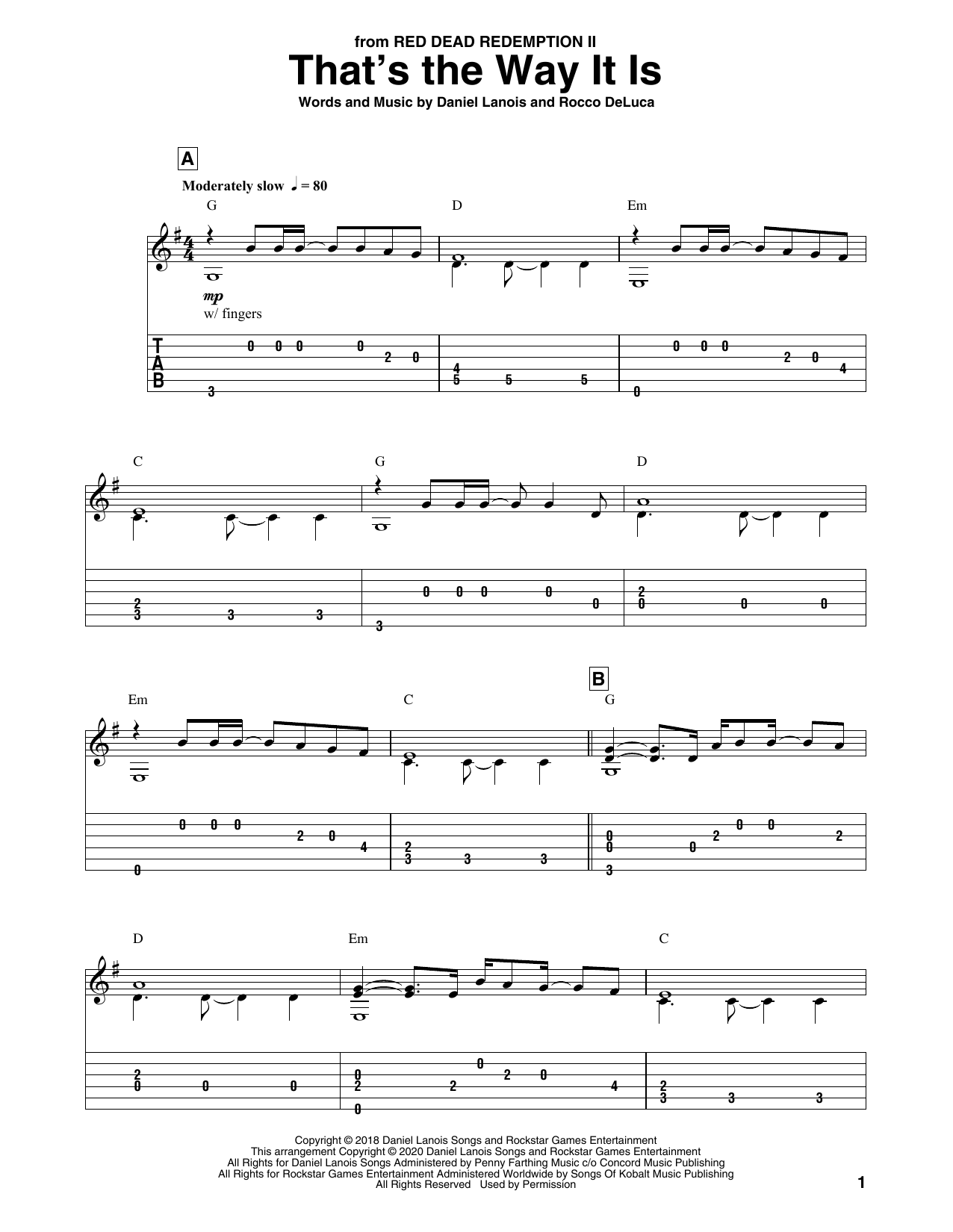 That's The Way It Is (from Red Dead Redemption II) Sheet Music