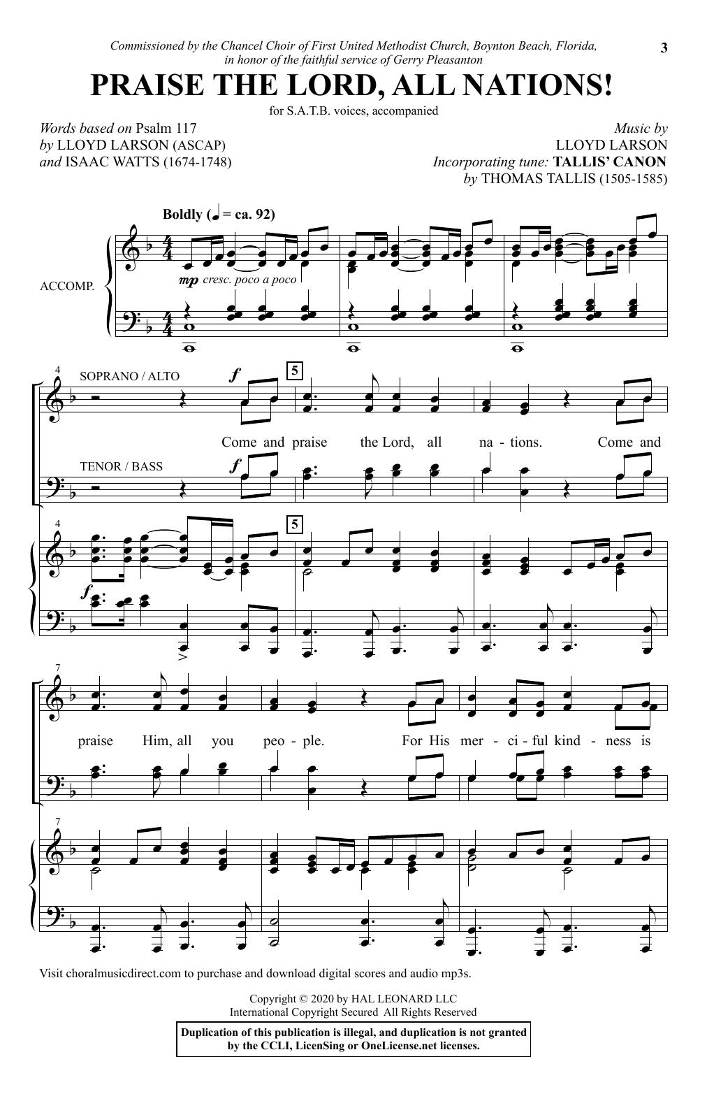 Praise The Lord, All Nations! (SATB Choir)
