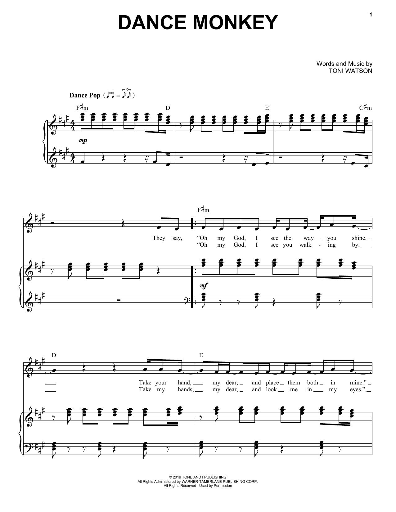 Dance Monkey Piano Vocal Print Sheet Music Now