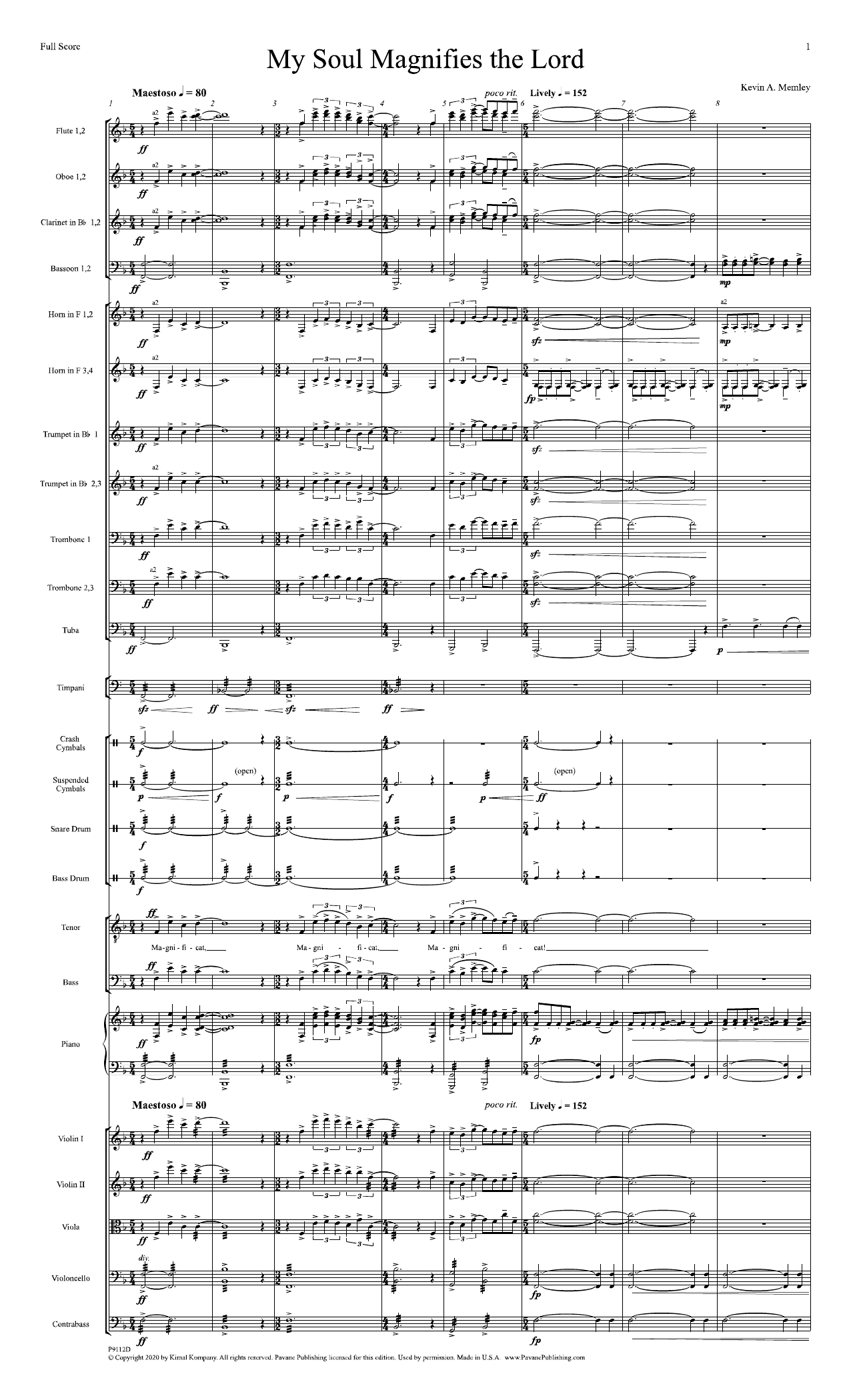My Soul Magnifies the Lord (Full Orchestra) - Full Score Sheet Music