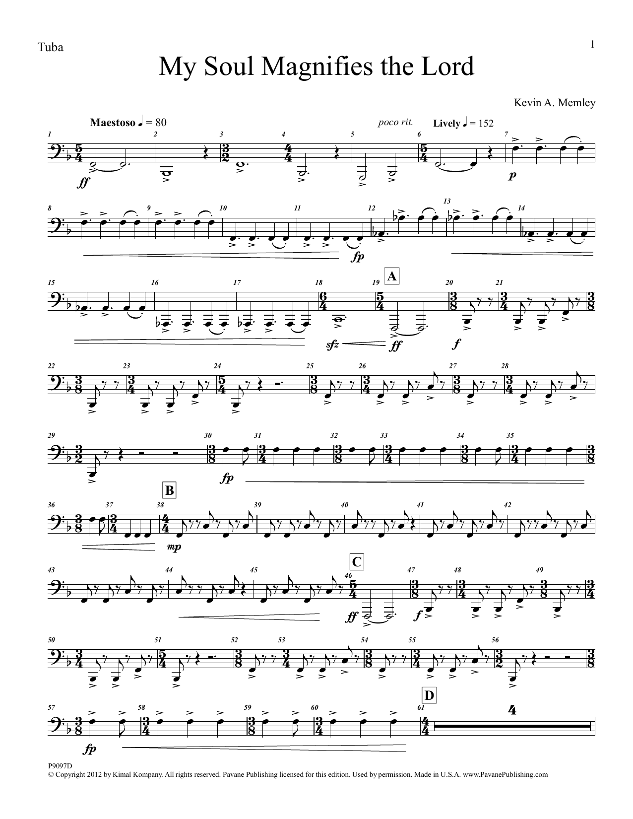 My Soul Magnifies the Lord (Brass Quintet and Percussion) - Tuba Sheet Music