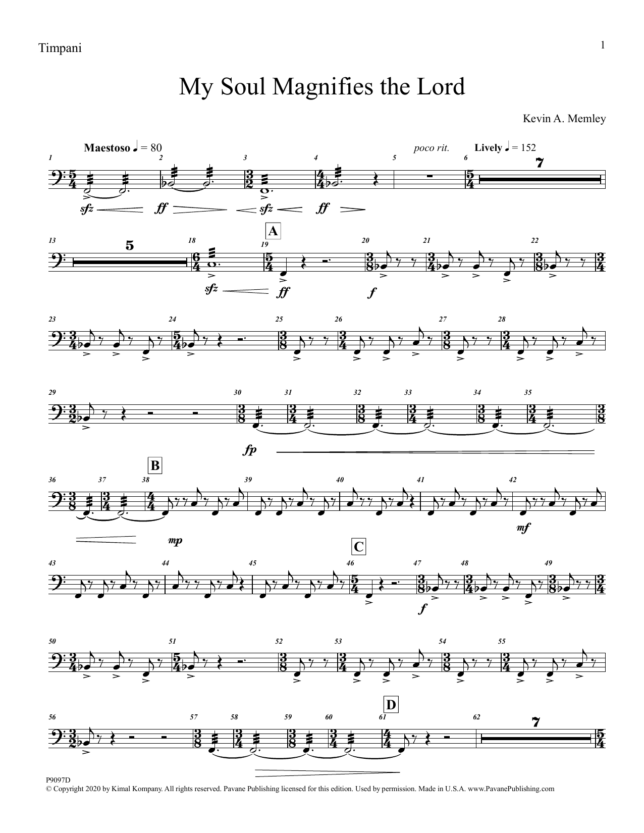 My Soul Magnifies the Lord (Brass Quintet and Percussion) - Timpani Sheet Music