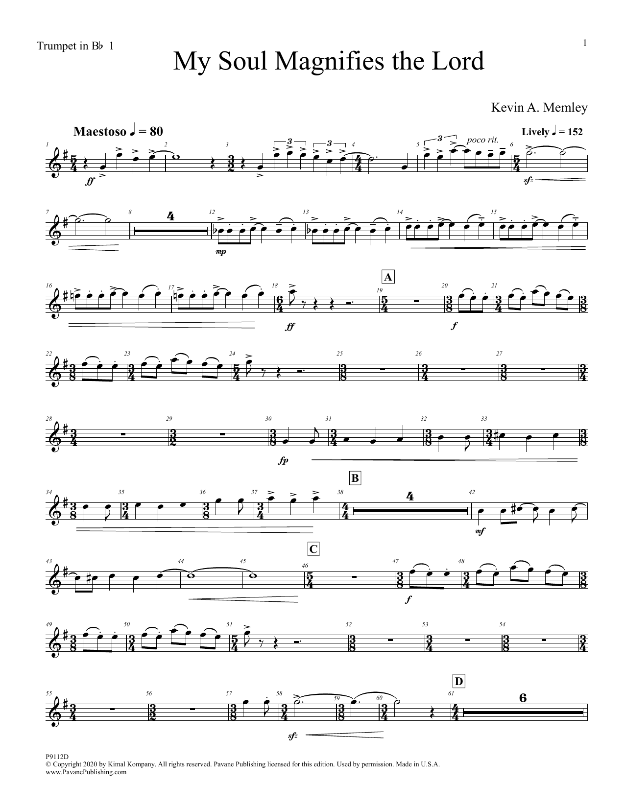 My Soul Magnifies the Lord (Full Orchestra) - Bb Trumpet 1 Digitale Noten
