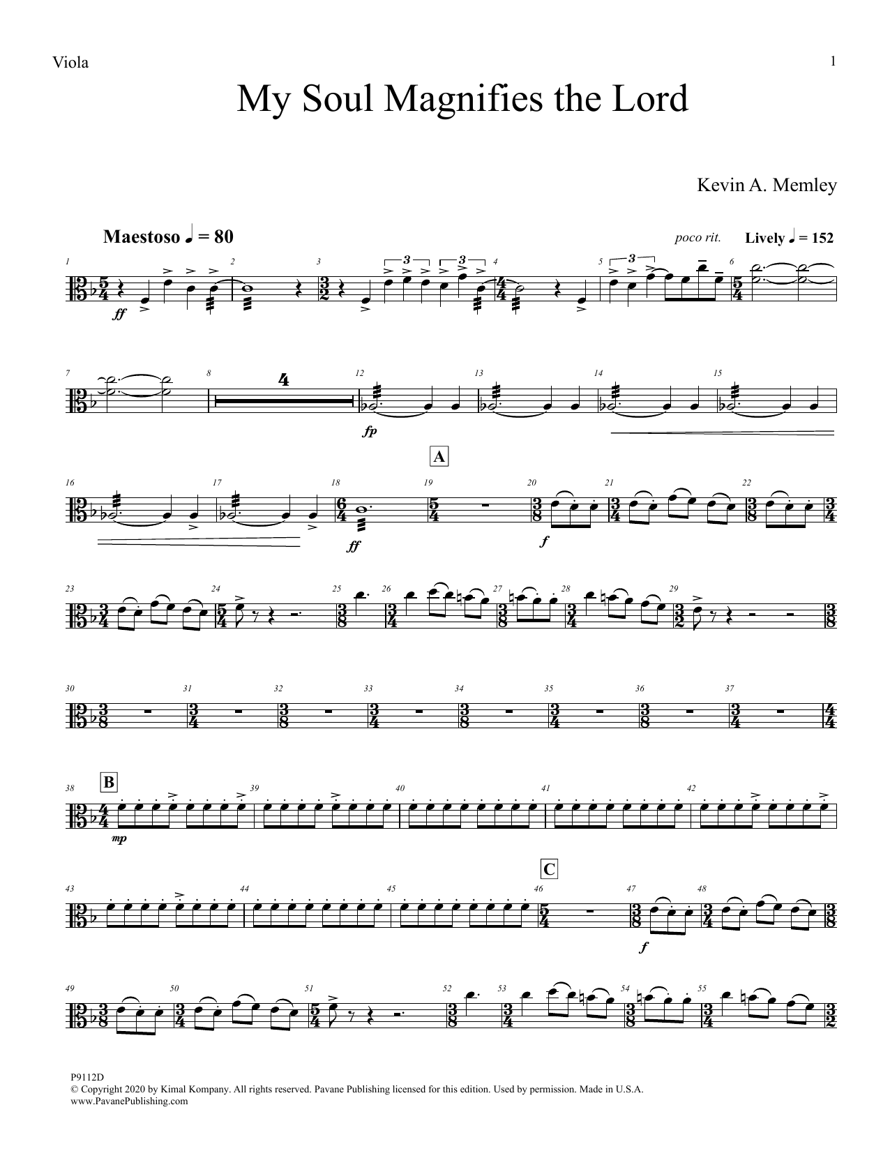 My Soul Magnifies the Lord (Full Orchestra) - Viola Sheet Music