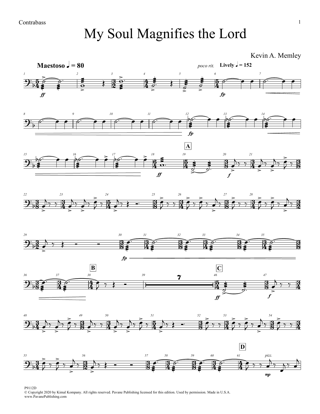 My Soul Magnifies the Lord (Full Orchestra) - Acoustic Bass Sheet Music