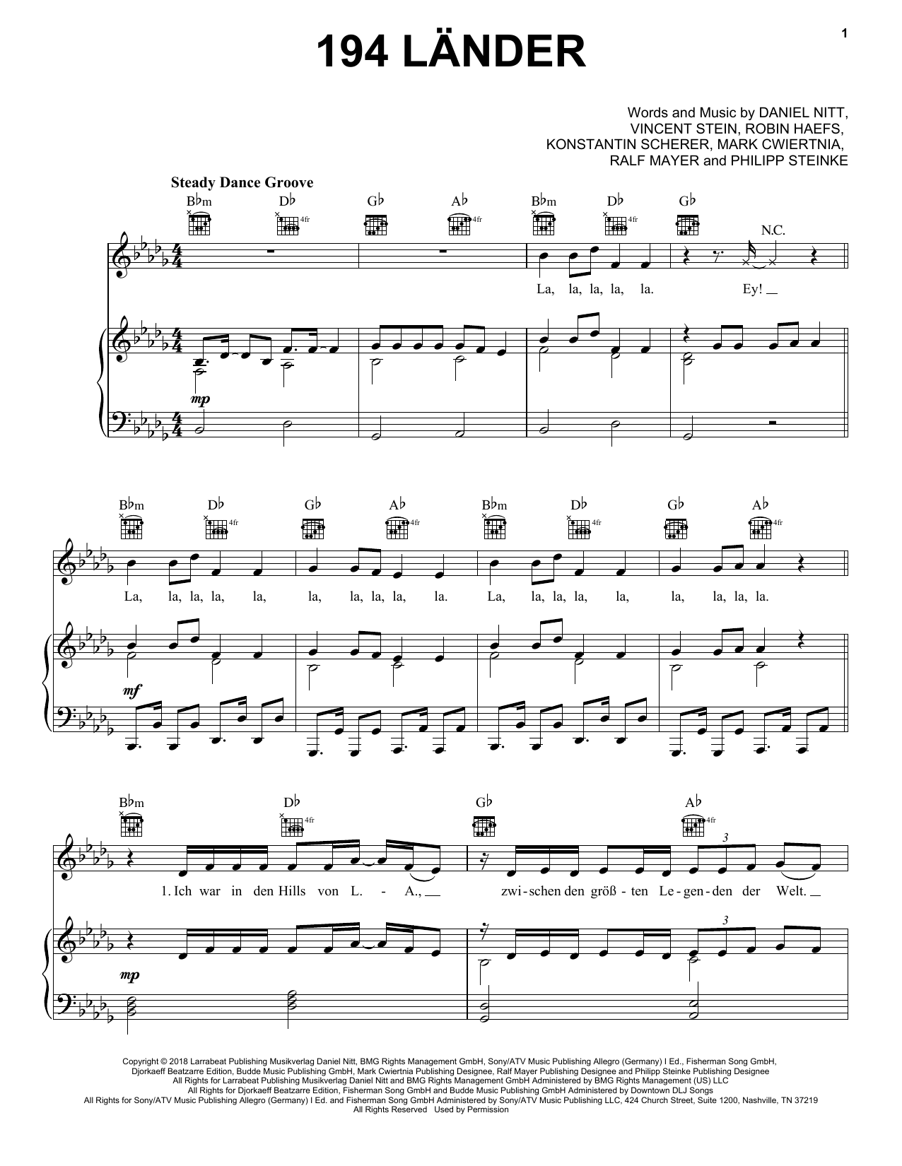 194 Länder (Piano, Vocal & Guitar (Right-Hand Melody))