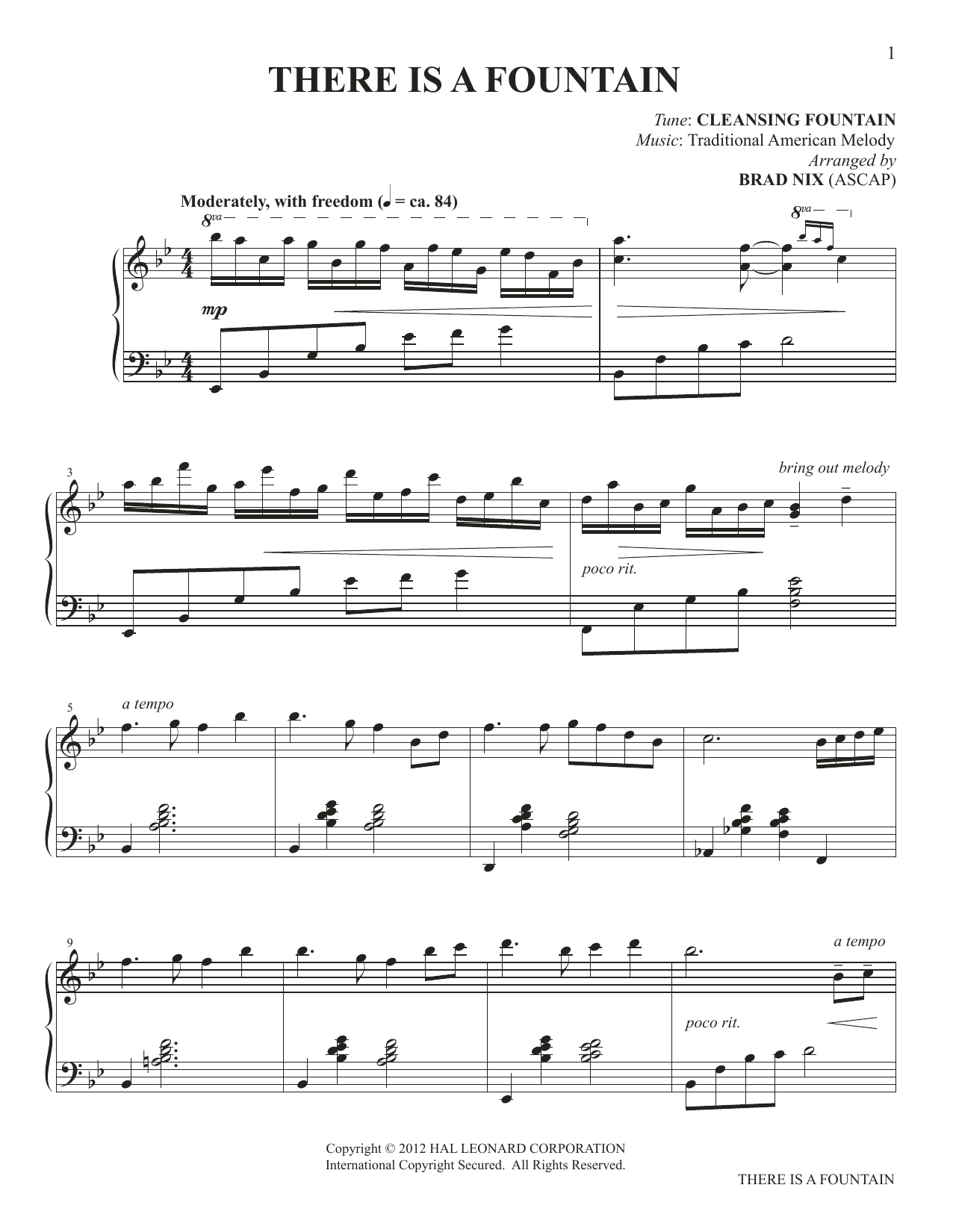 There Is A Fountain (arr. Brad Nix) Sheet Music