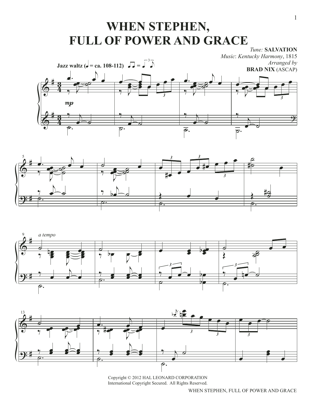 When Stephen, Full Of Power And Grace (arr. Brad Nix) Sheet Music