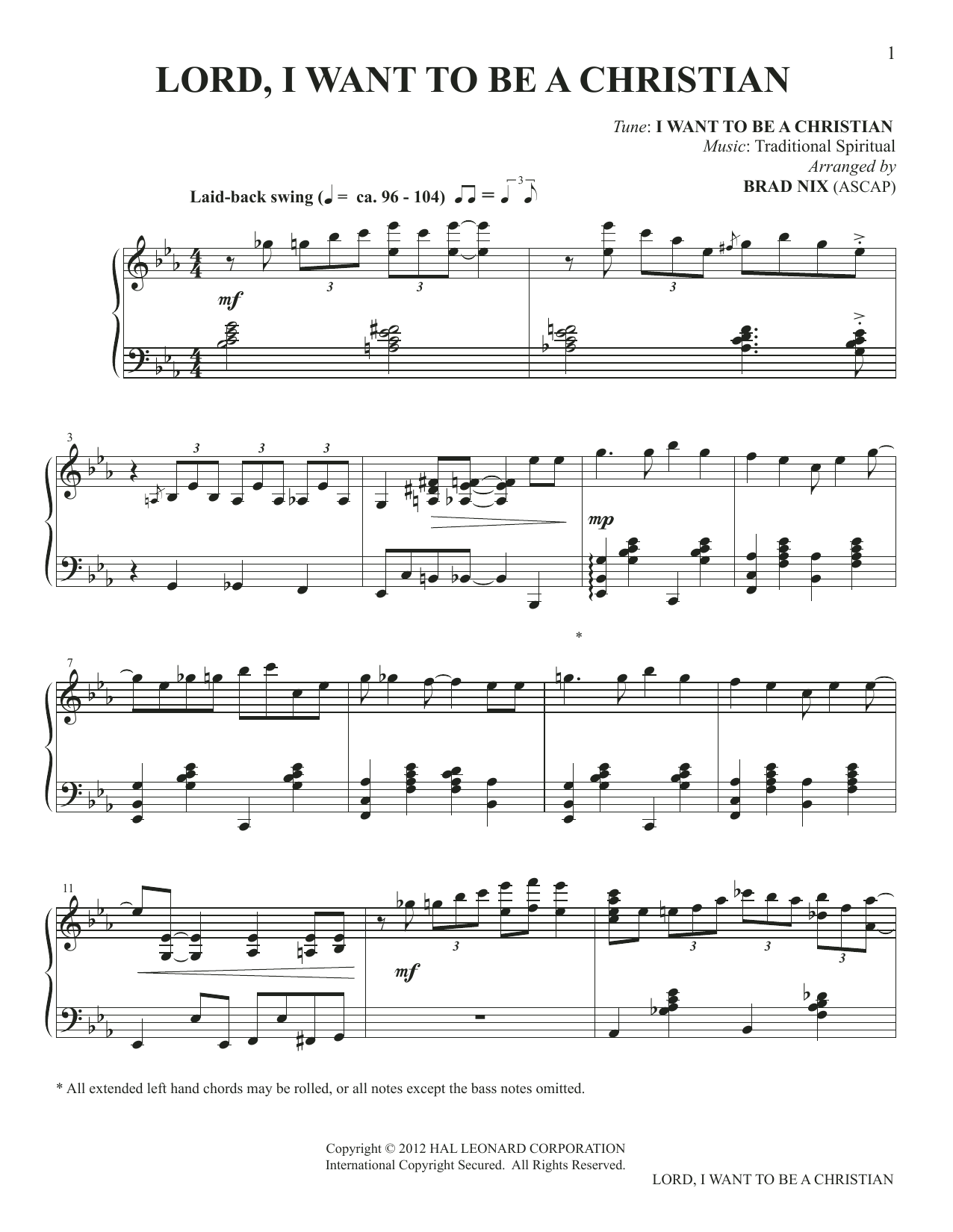 Lord, I Want To Be A Christian (arr. Brad Nix) (Piano Solo)