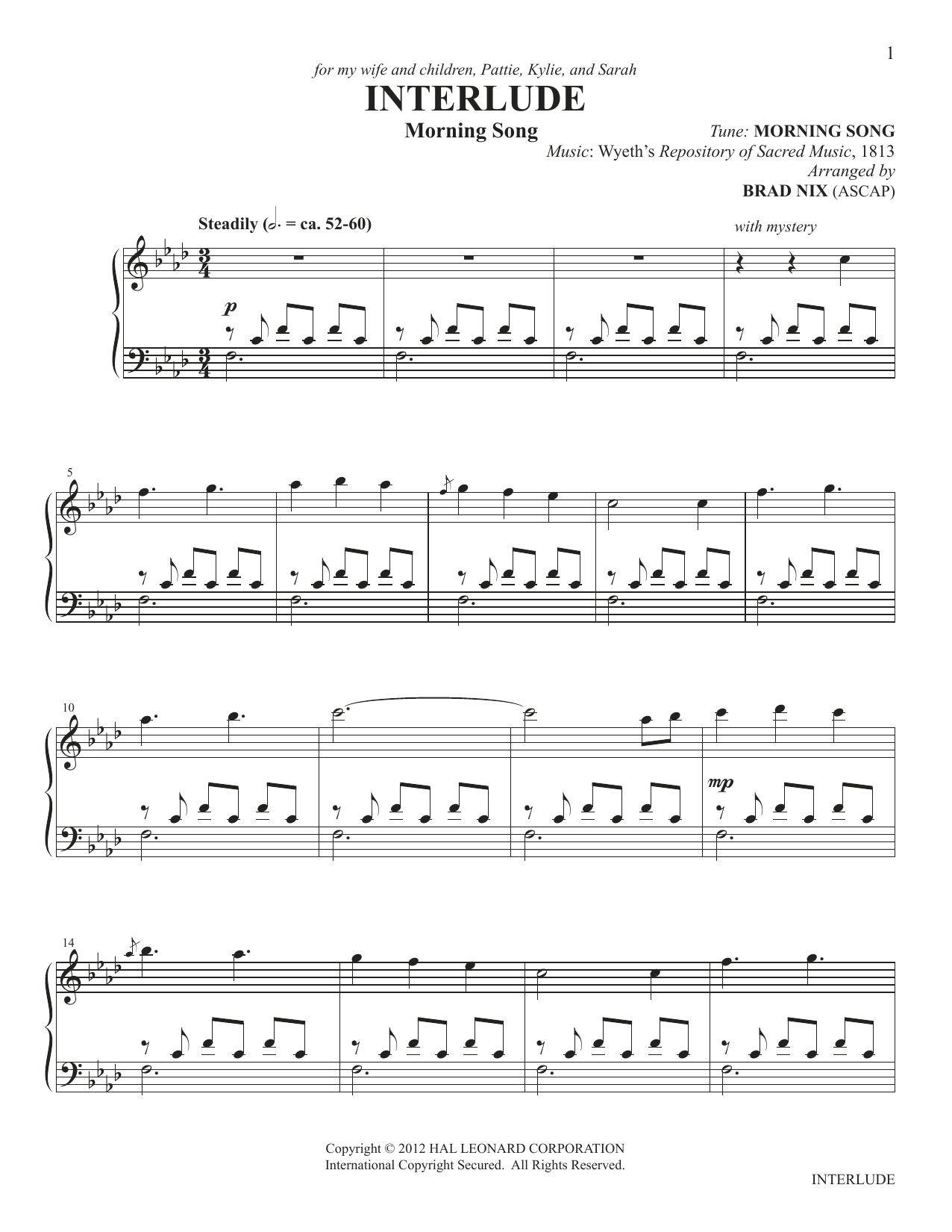 Interlude (arr. Brad Nix) Sheet Music