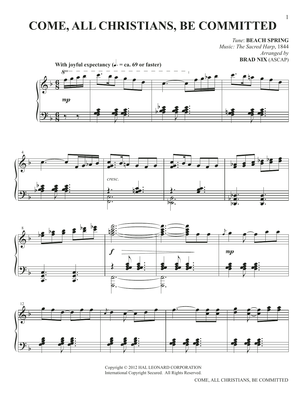 Come, All Christians, Be Committed (arr. Brad Nix) (Piano Solo)