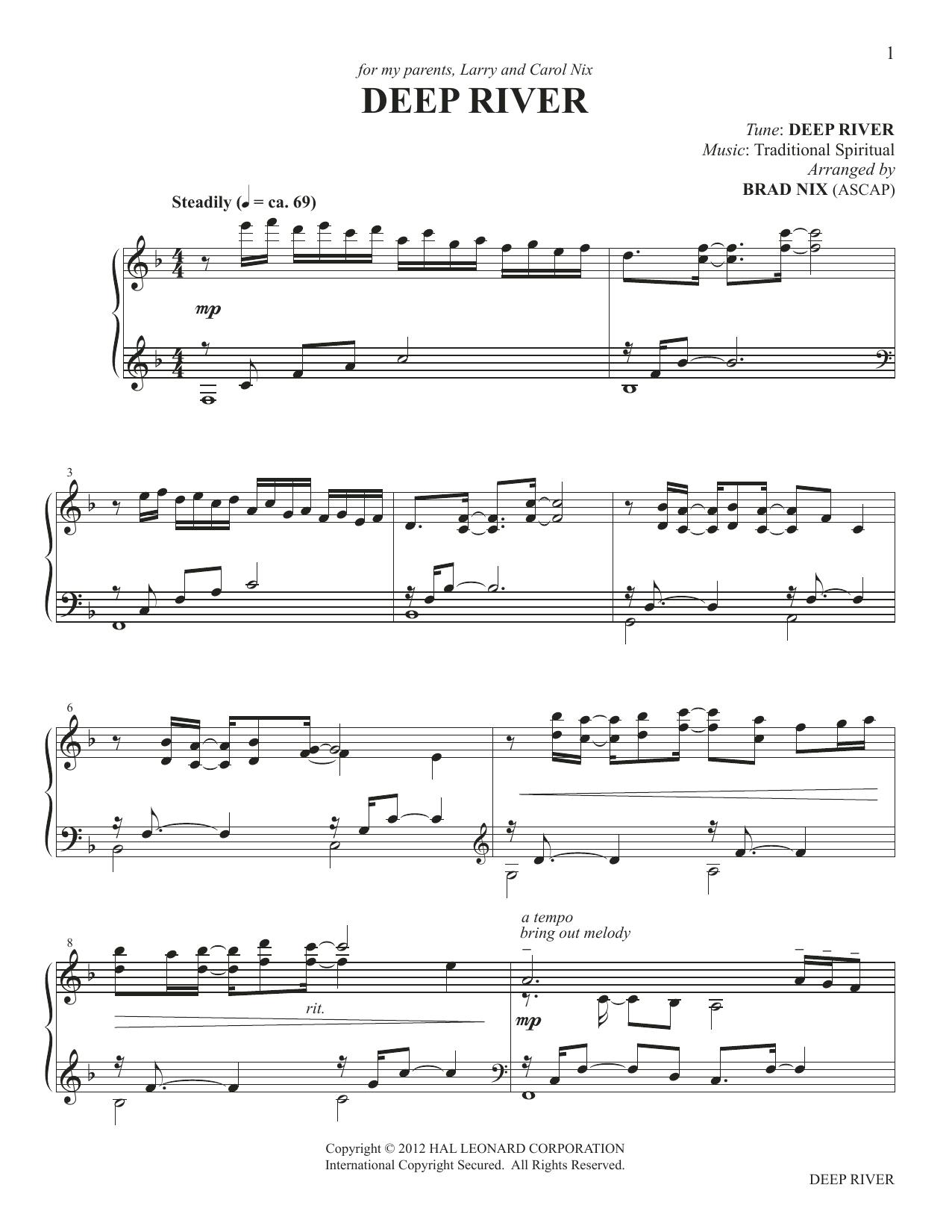 Deep River (arr. Brad Nix) (Piano Solo)