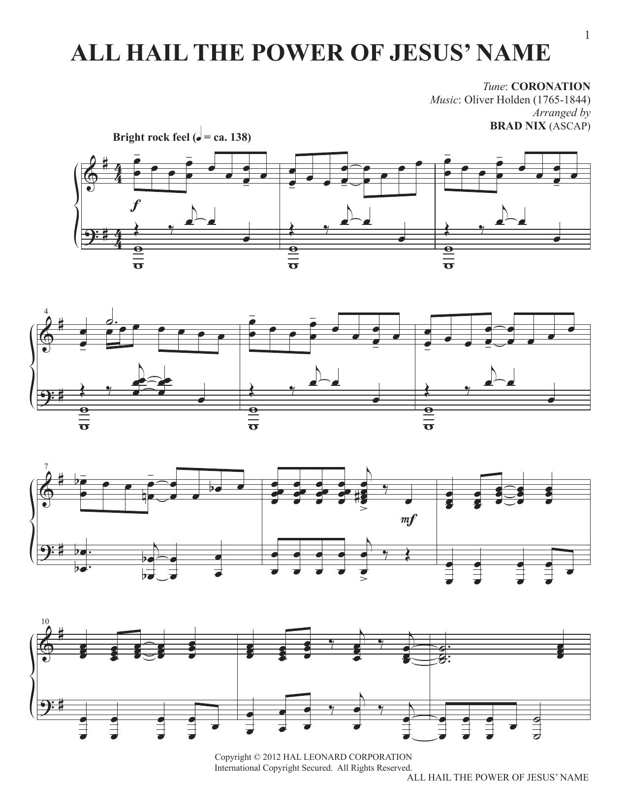 All Hail The Power Of Jesus' Name (arr. Brad Nix) (Piano Solo)