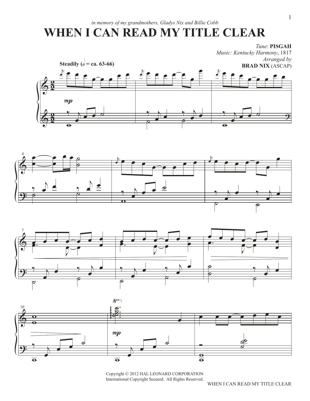 When I Can Read My Title Clear (arr. Brad Nix) (Piano Solo)