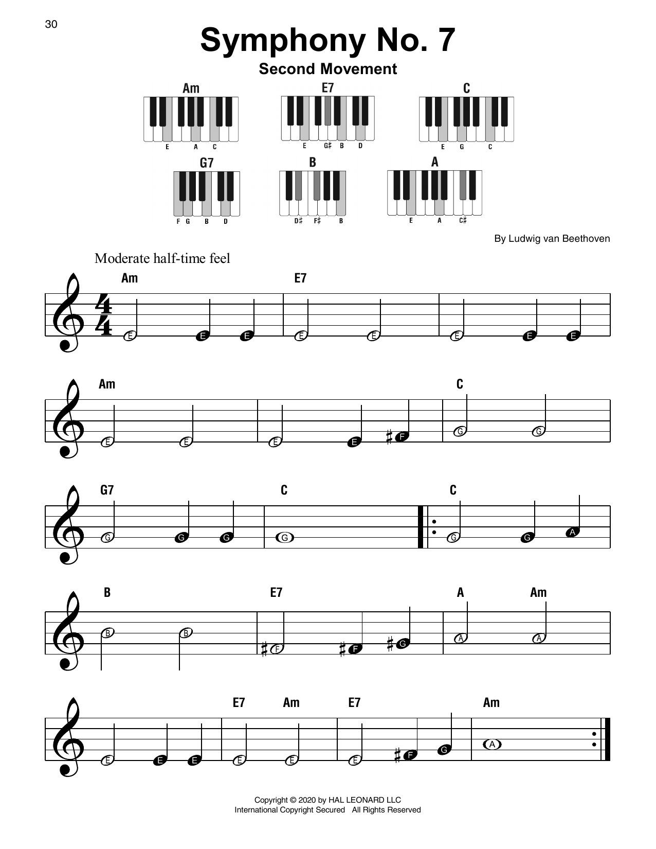 Symphony No. 7 In A Major, Second Movement (Allegretto) Sheet Music