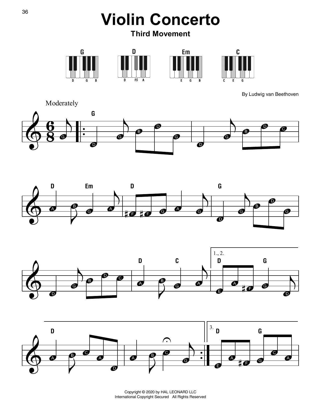 Violin Concerto In D Major, Op. 61 (Super Easy Piano)