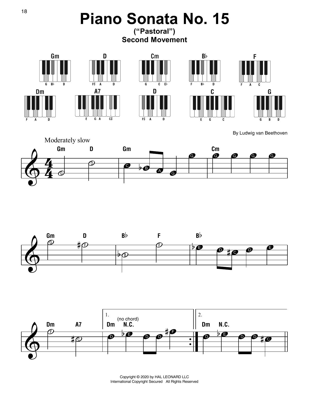 """Piano Sonata No. 15 In D Major, Op. 28 (""""Pastorale"""") (Super Easy Piano)"""