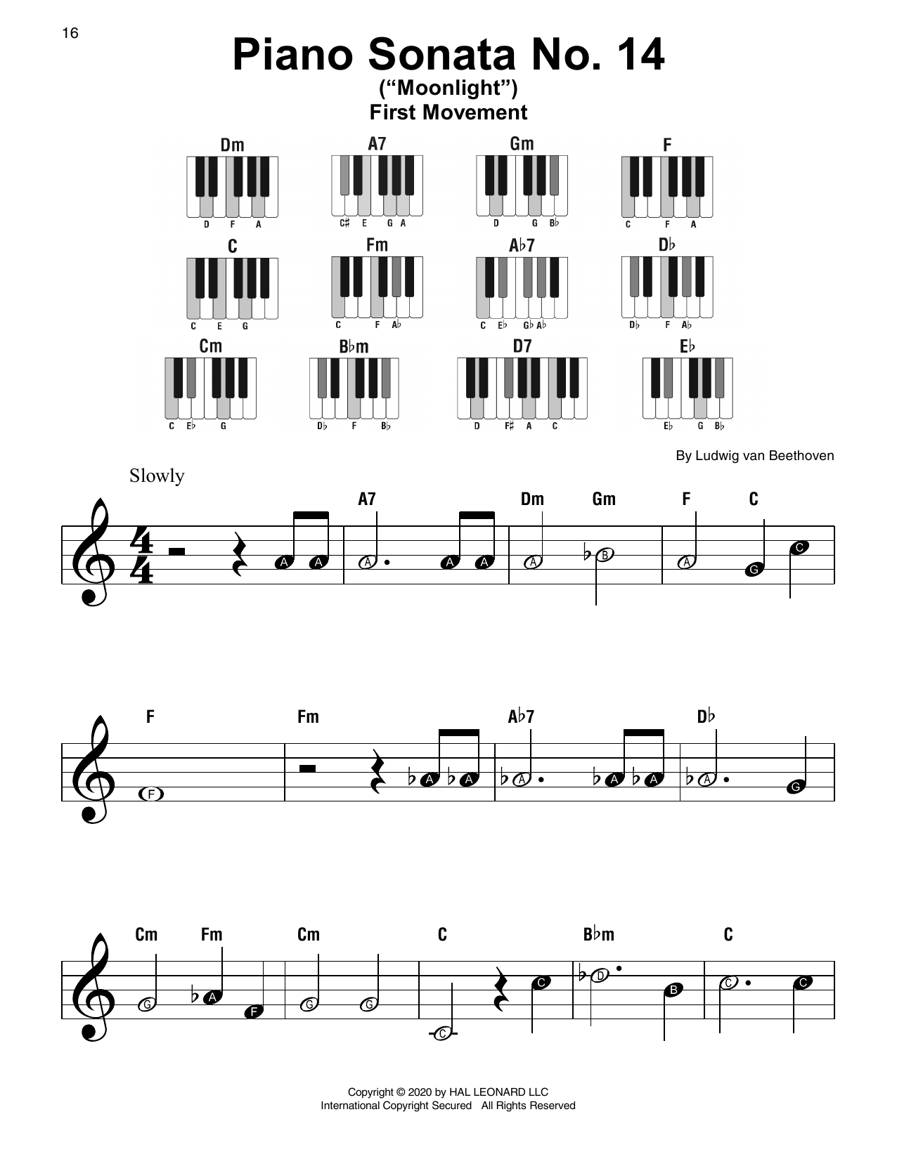 "Piano Sonata No. 14 In C# Minor (""Moonlight"") Op. 27, No. 2, First Movement Theme Sheet Music"