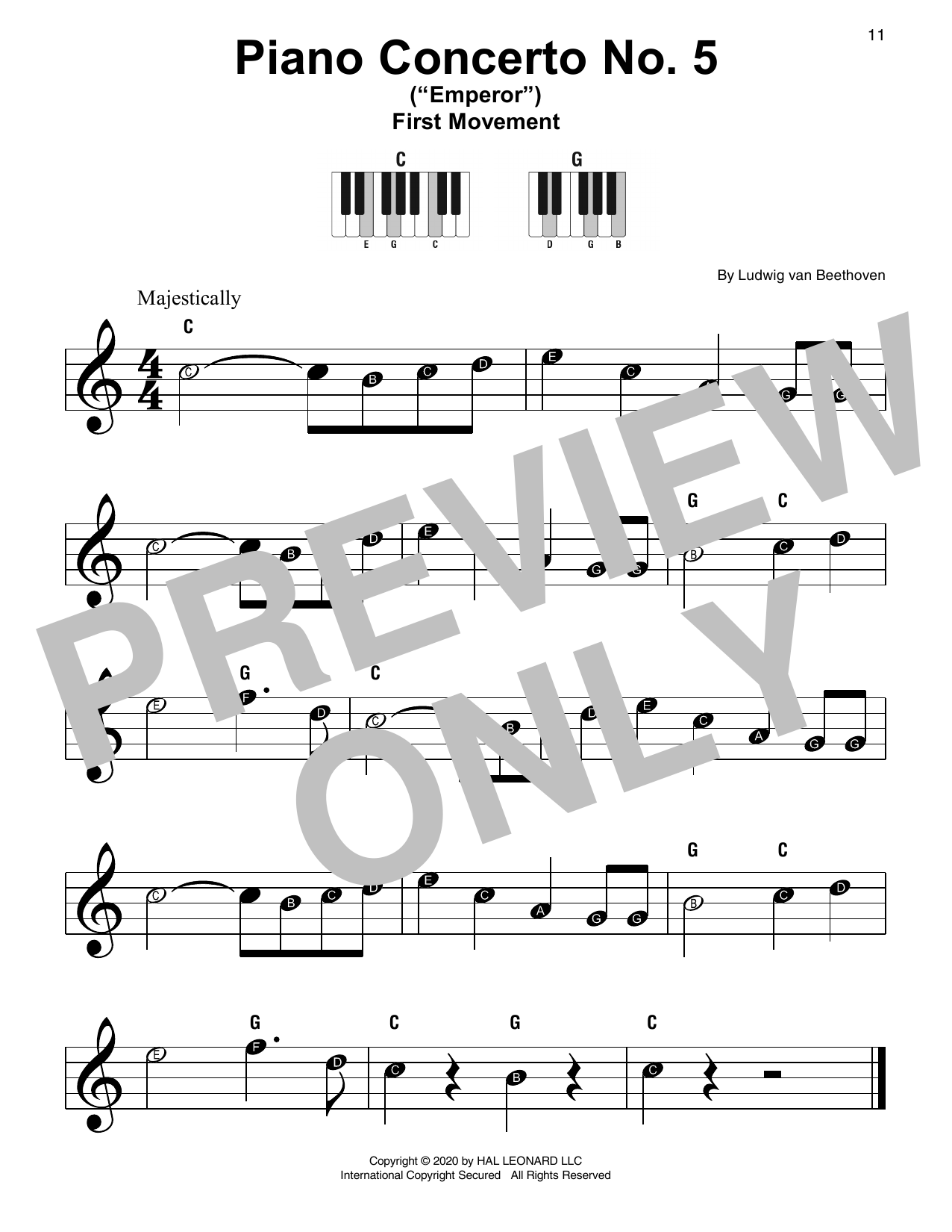 "Piano Concerto No. 5 In E-flat Major (""Emperor"") (Super Easy Piano)"