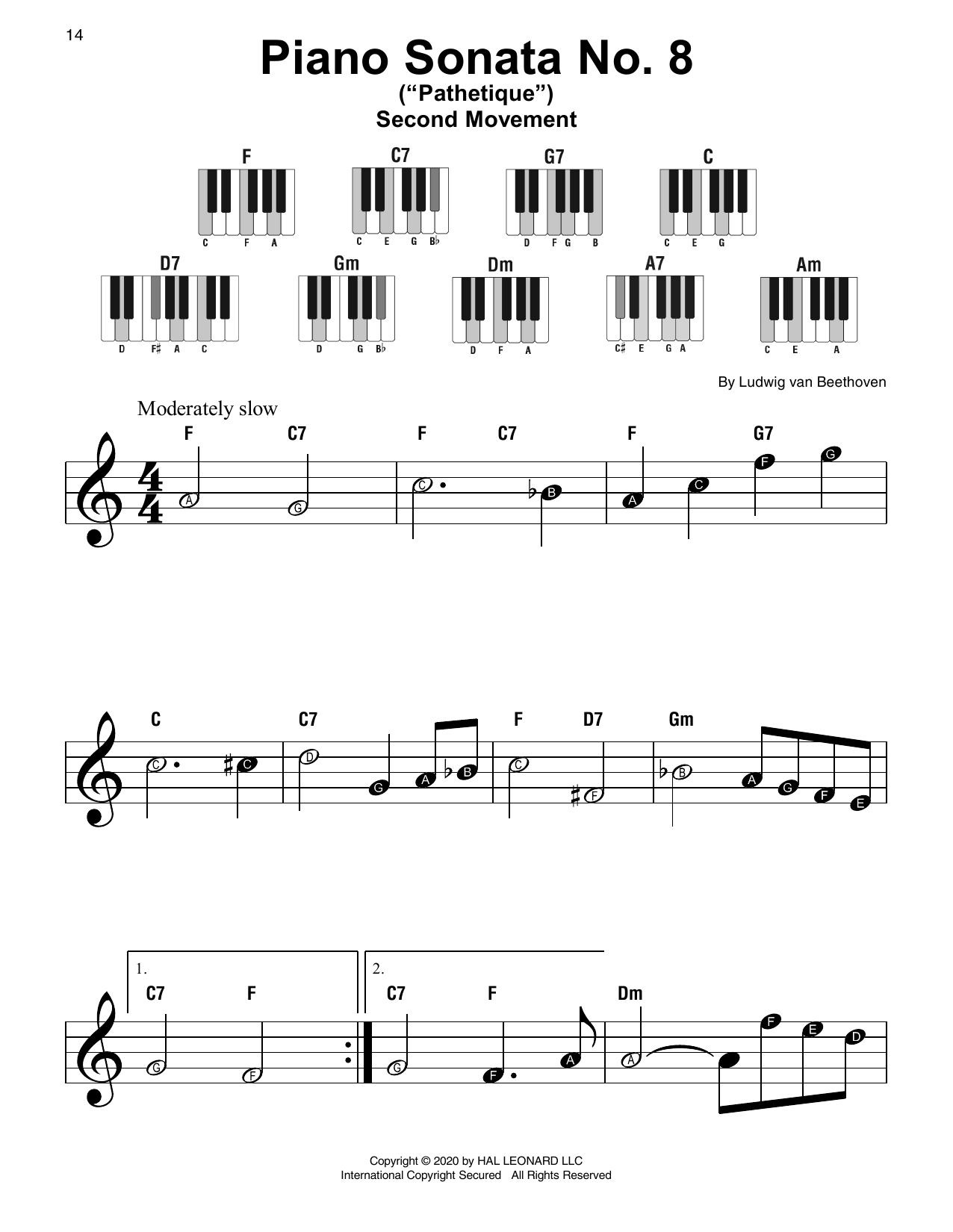 """Piano Sonata No. 8 """"Pathetique,"""" Second Movement (Super Easy Piano)"""