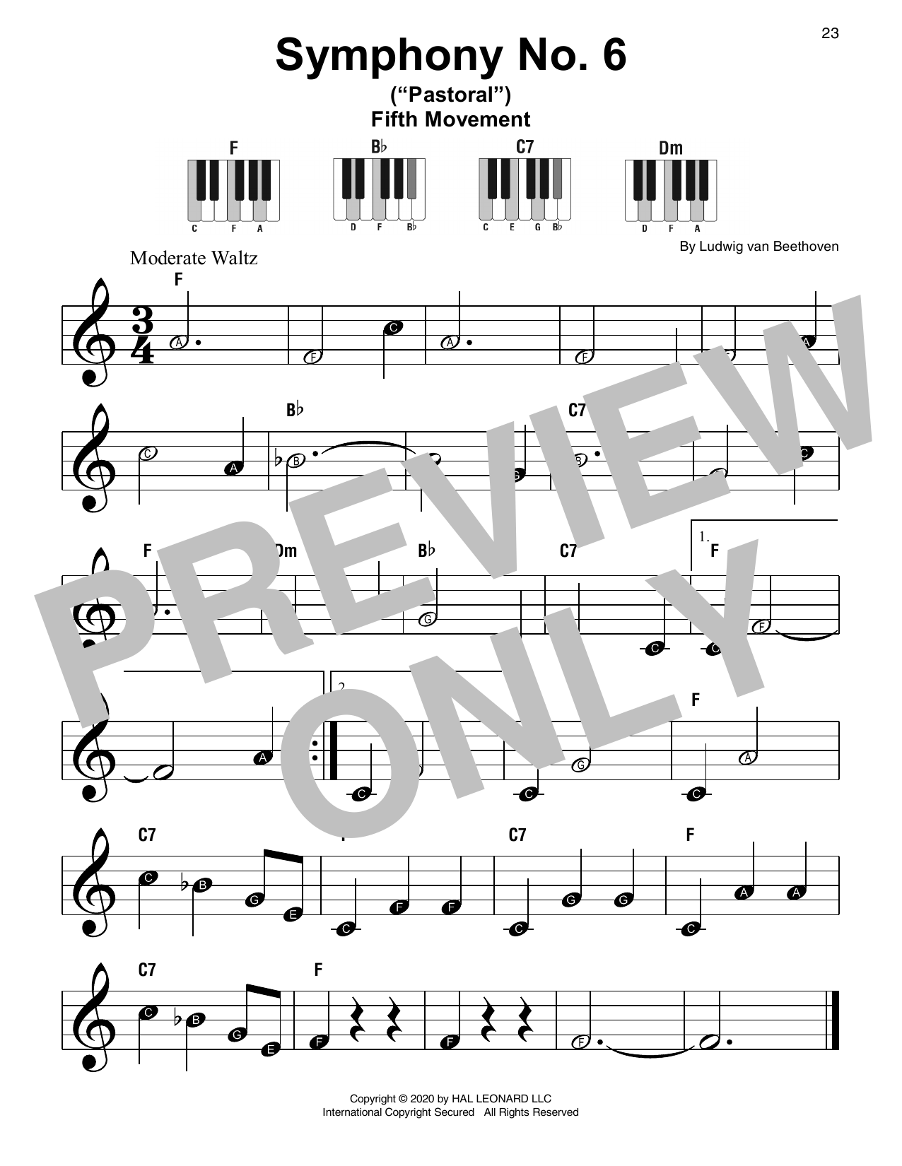 "Symphony No. 6 In F Major (""Pastoral""), First Movement Excerpt Sheet Music"