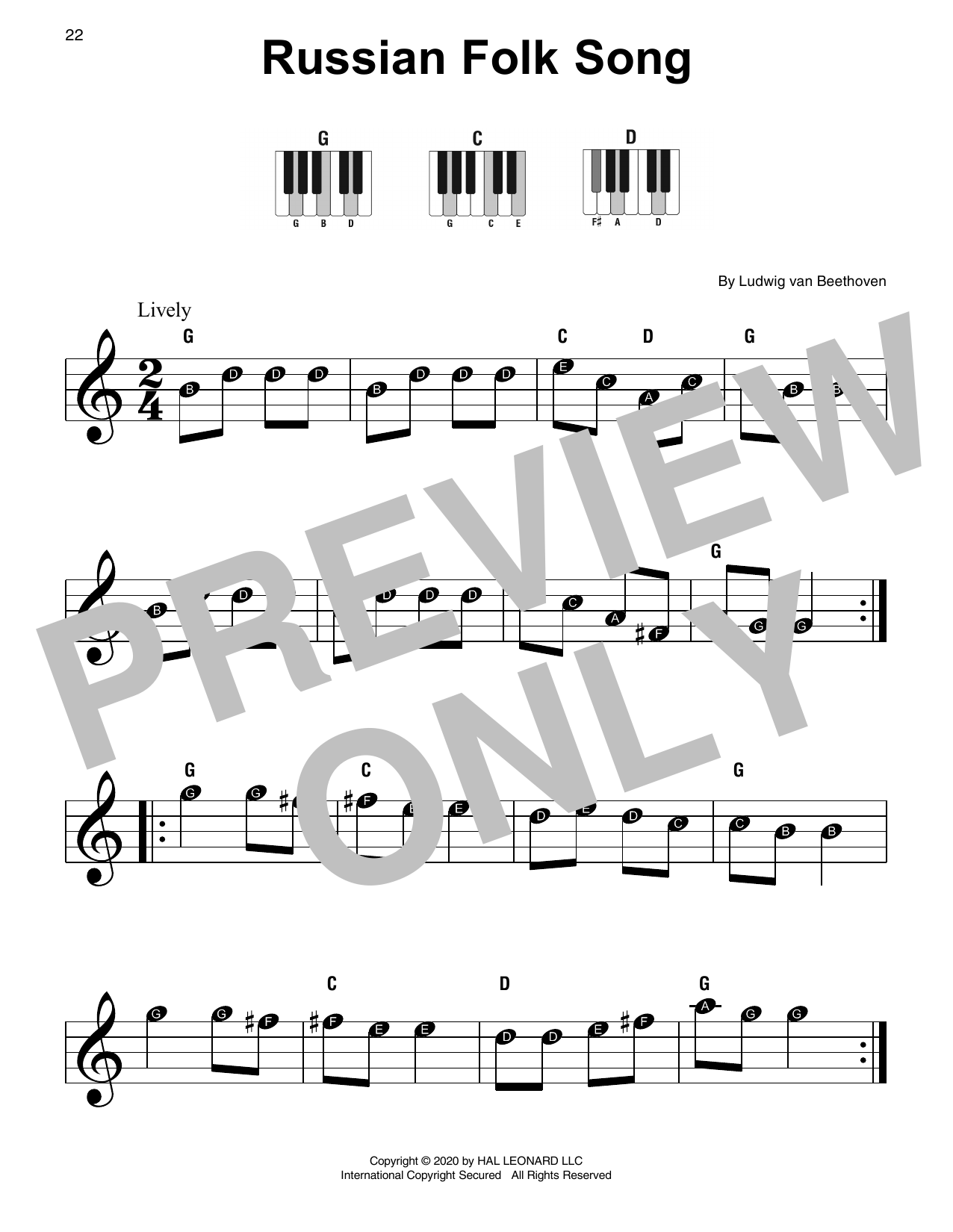 Russian Folk Song Sheet Music