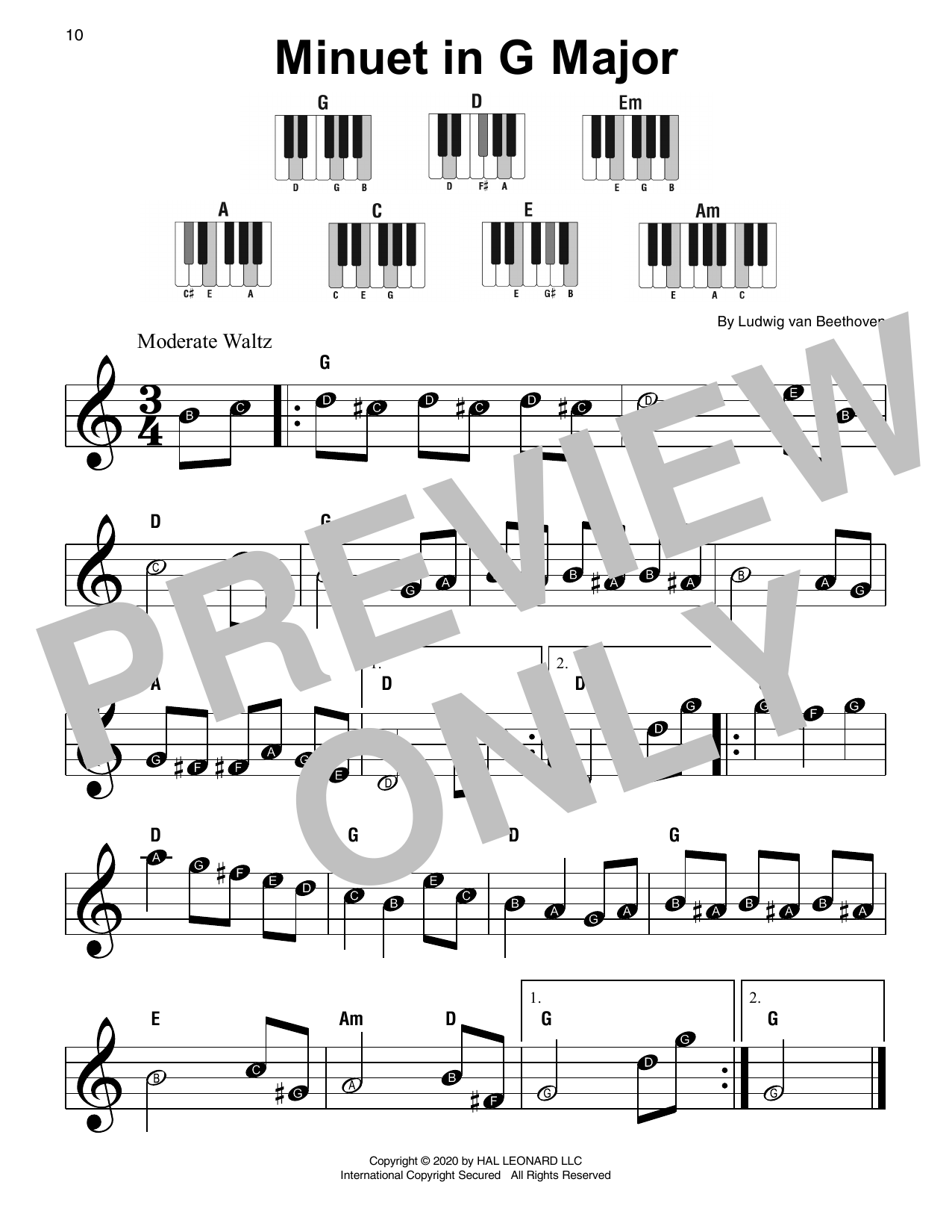 Minuet In G Major Sheet Music