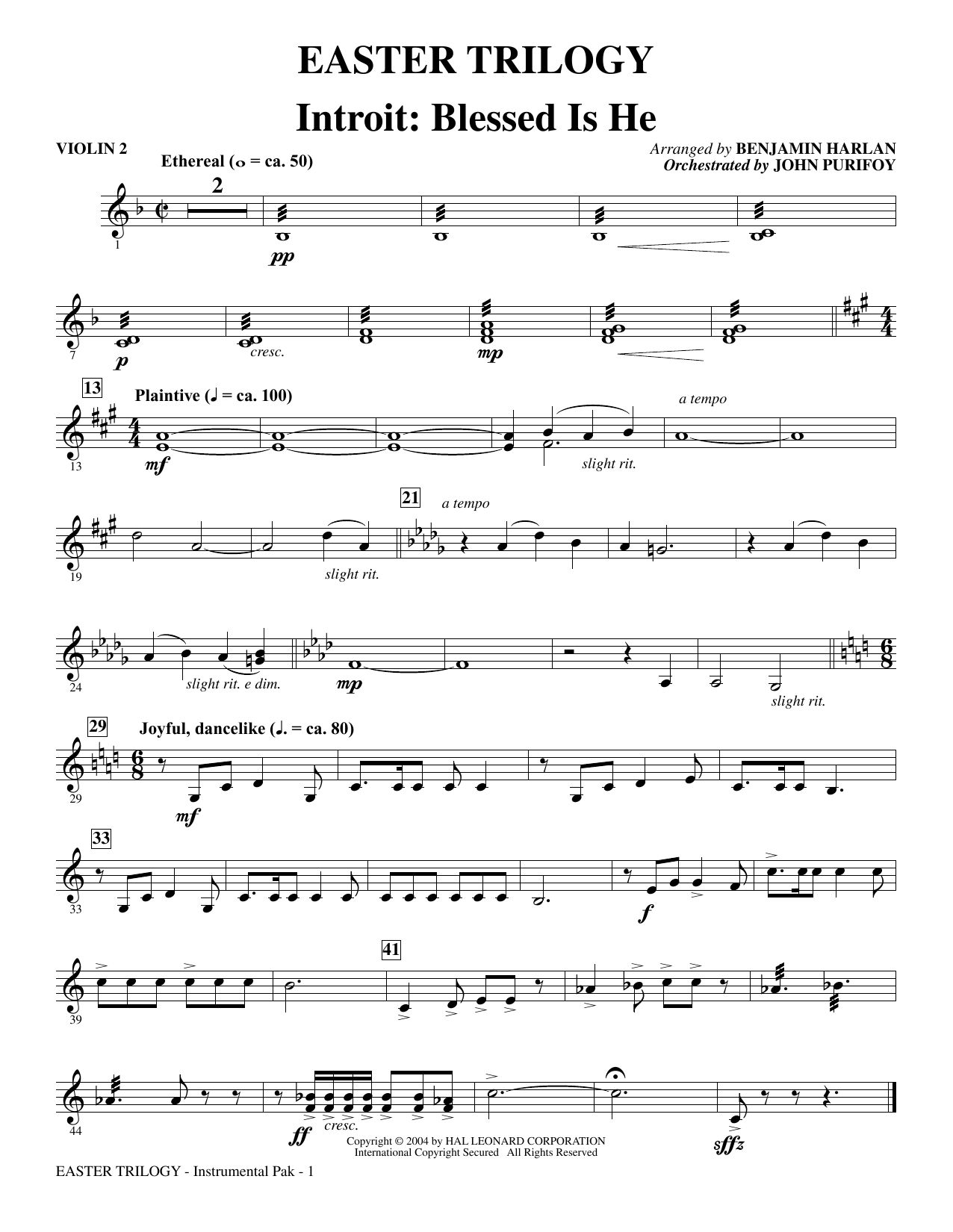 Easter Trilogy: A Cantata in Three Suites (Full Orchestra) - Violin 2 Sheet Music