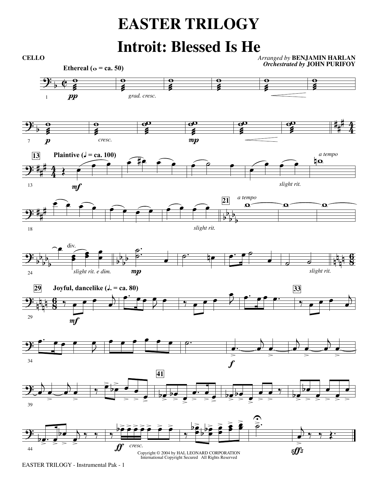 Easter Trilogy: A Cantata in Three Suites (Chamber Orchestra) - Cello Sheet Music