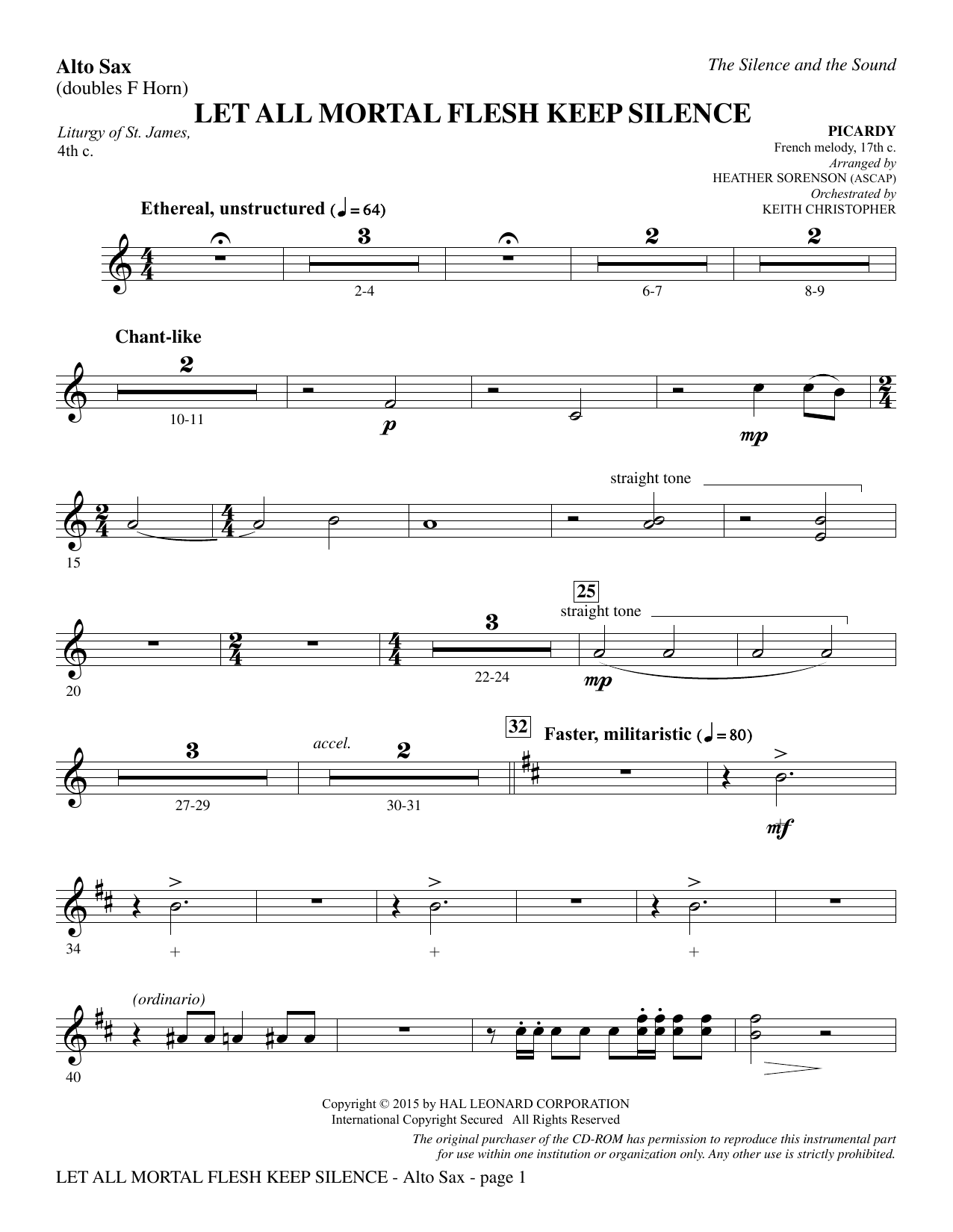 The Silence and the Sound: A Cantata for Christmas - Alto Sax (sub. Horn) Digitale Noten