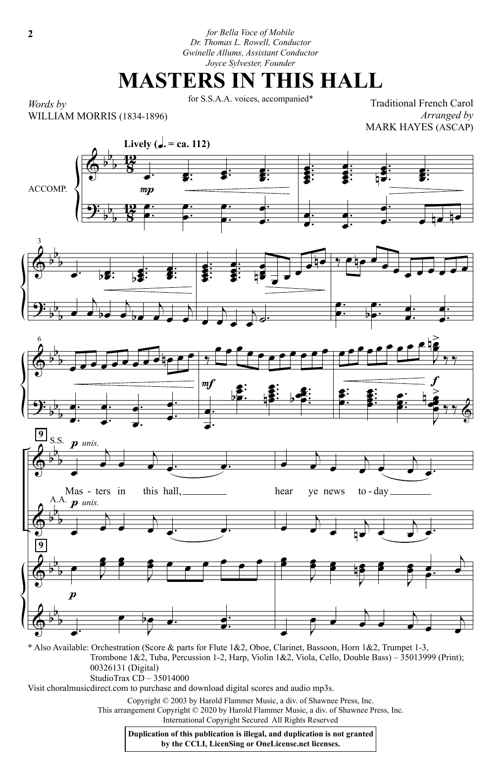 Masters In This Hall (arr. Mark Hayes) (SSAA Choir)