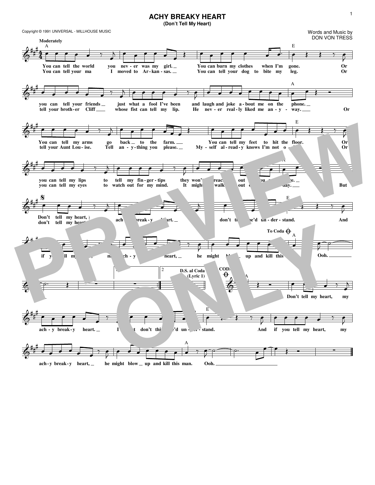 Achy Breaky Heart (Don't Tell My Heart) (Lead Sheet / Fake Book)