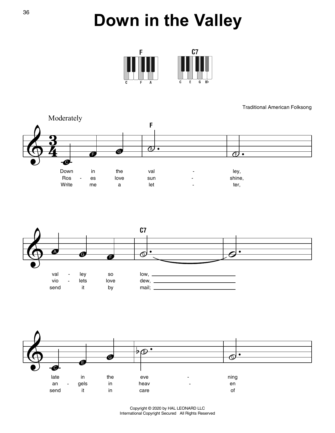 Down In The Valley Sheet Music