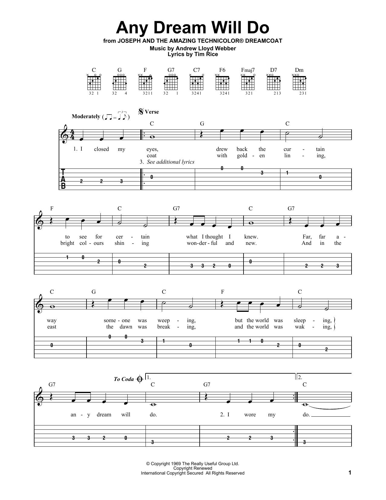 Any Dream Will Do (from Joseph And The Amazing Technicolor Dreamcoat) (Easy Guitar Tab)