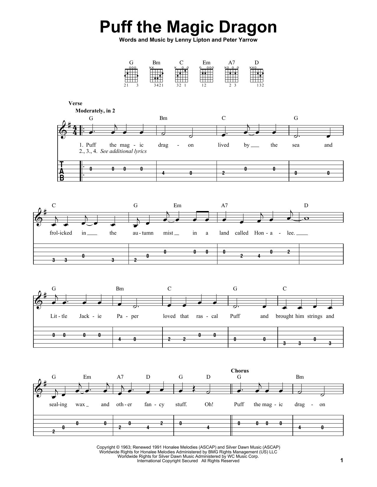 Puff The Magic Dragon (Easy Guitar Tab)