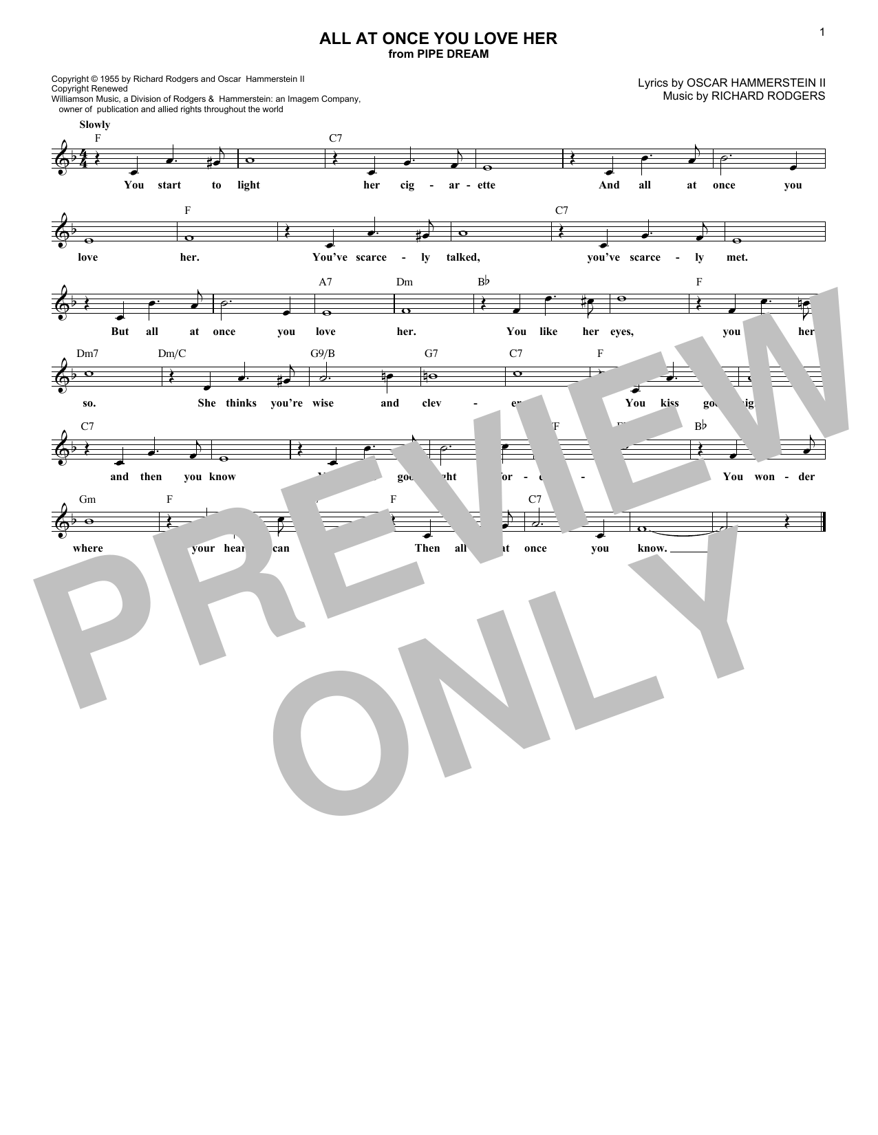 All At Once You Love Her (Lead Sheet / Fake Book)