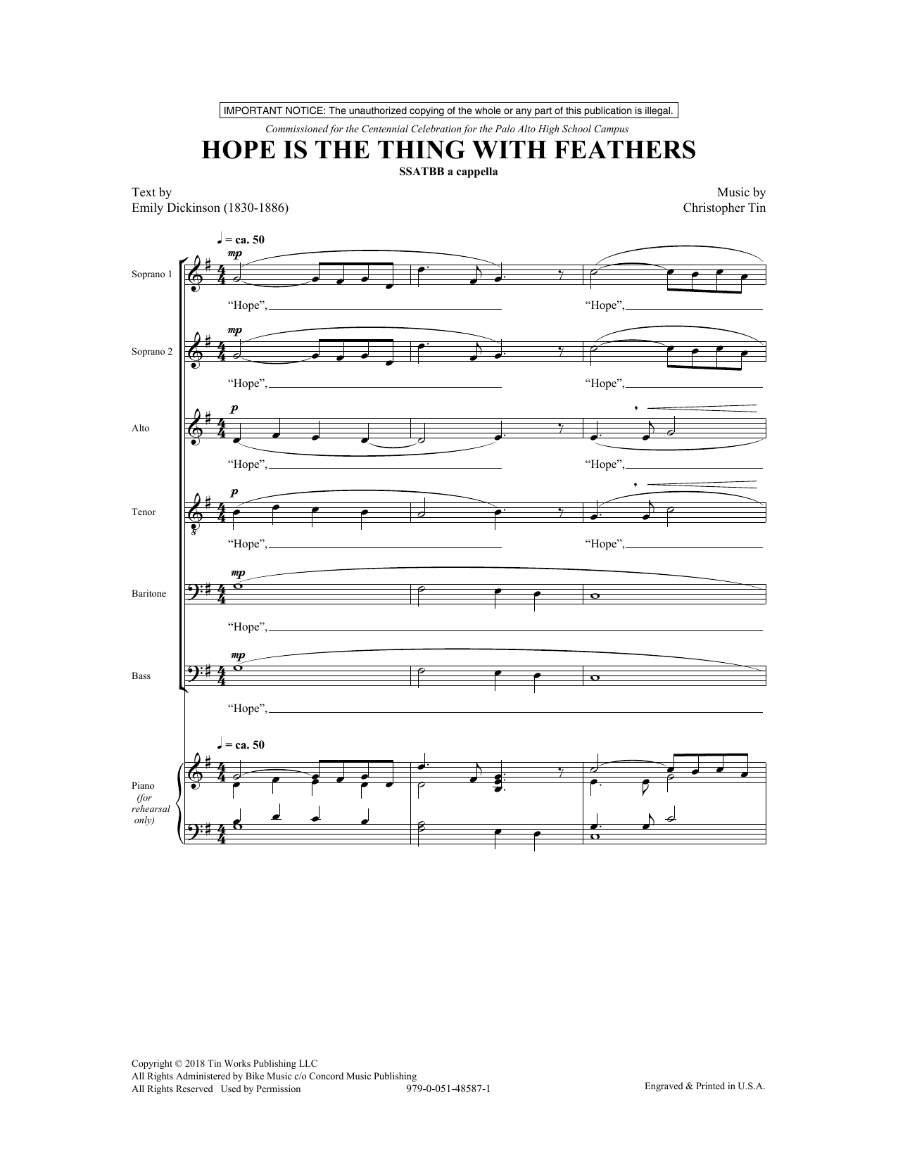 Hope Is The Thing With Feathers Sheet Music