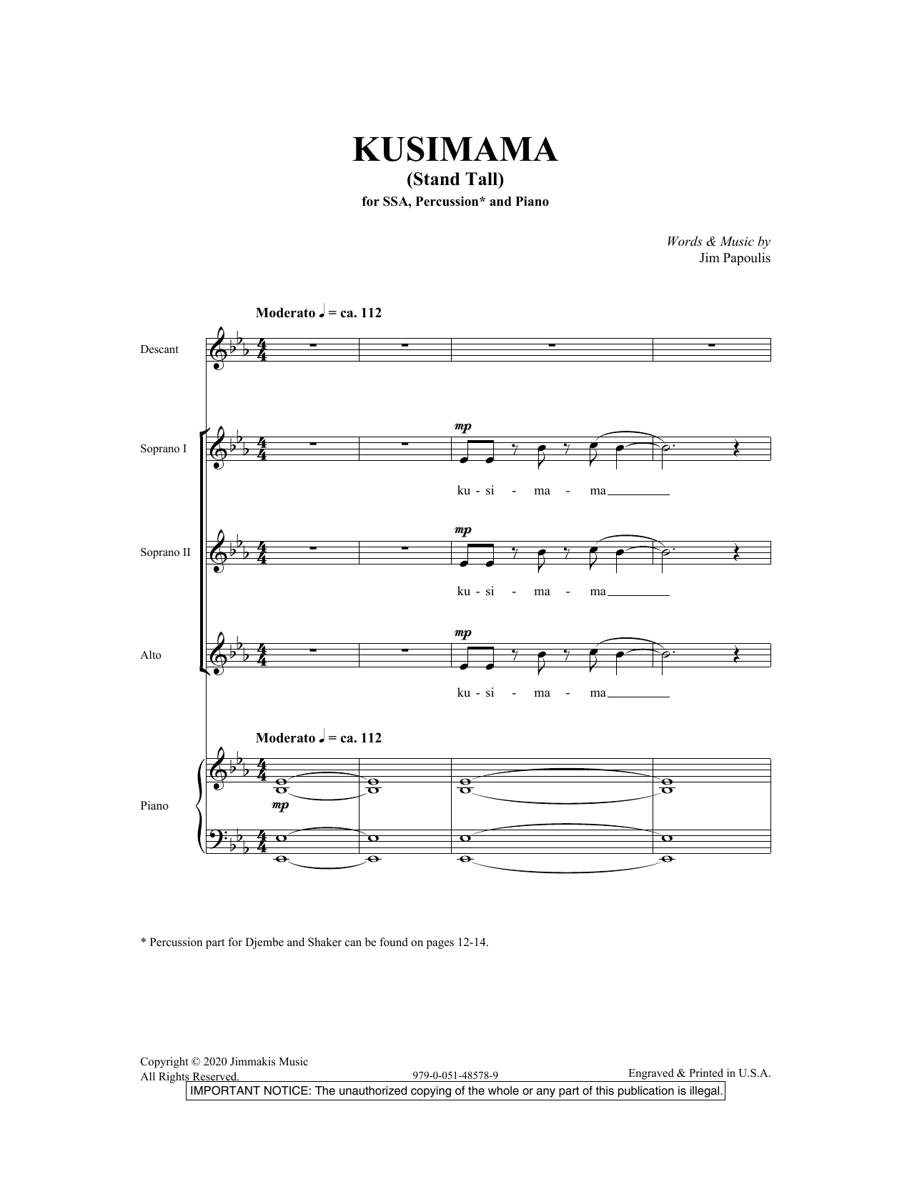 Kusimama (Stand Tall) Sheet Music