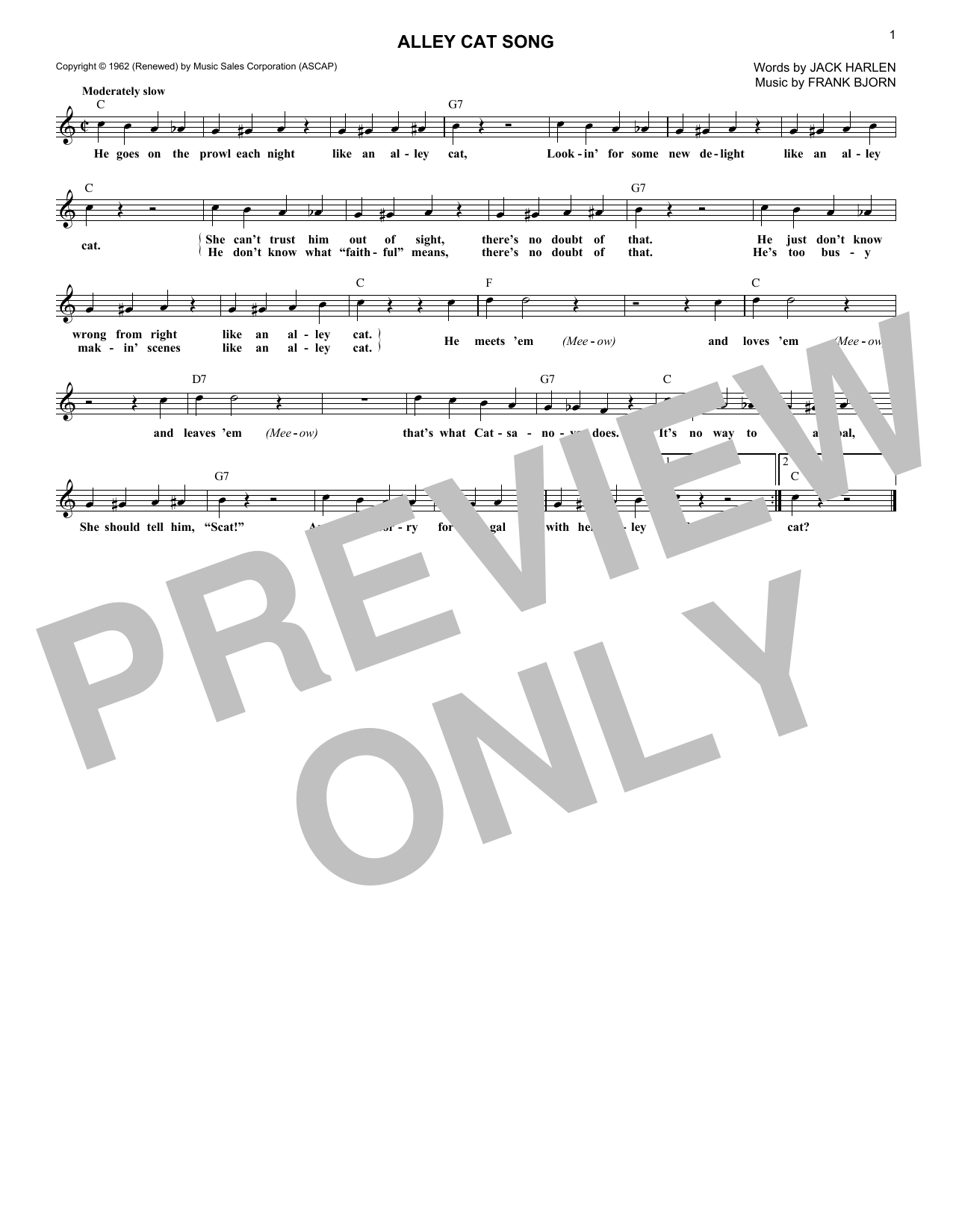 Alley Cat Song (Lead Sheet / Fake Book)