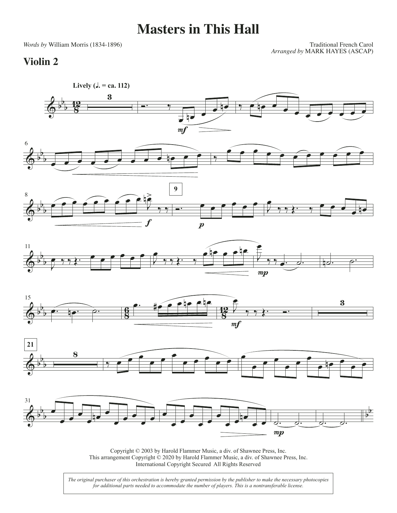 Masters in This Hall (arr. Mark Hayes) - Violin 2 Sheet Music