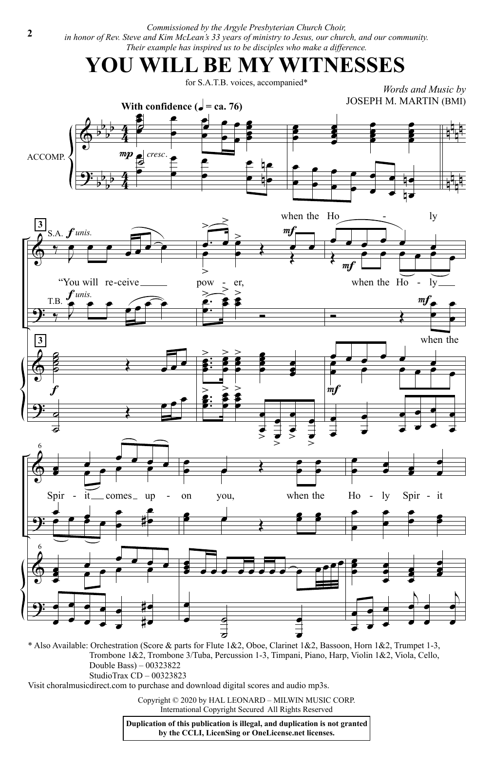 You Will Be My Witnesses (SATB Choir)