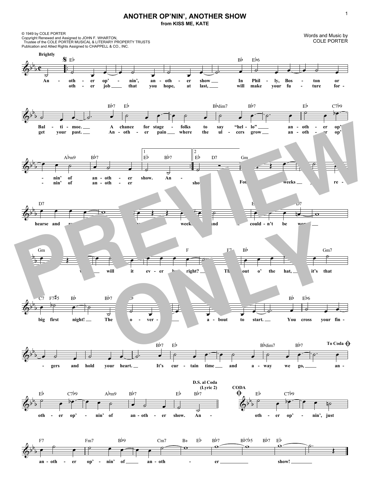 Another Op'nin', Another Show (from Kiss Me, Kate) (Lead Sheet / Fake Book)