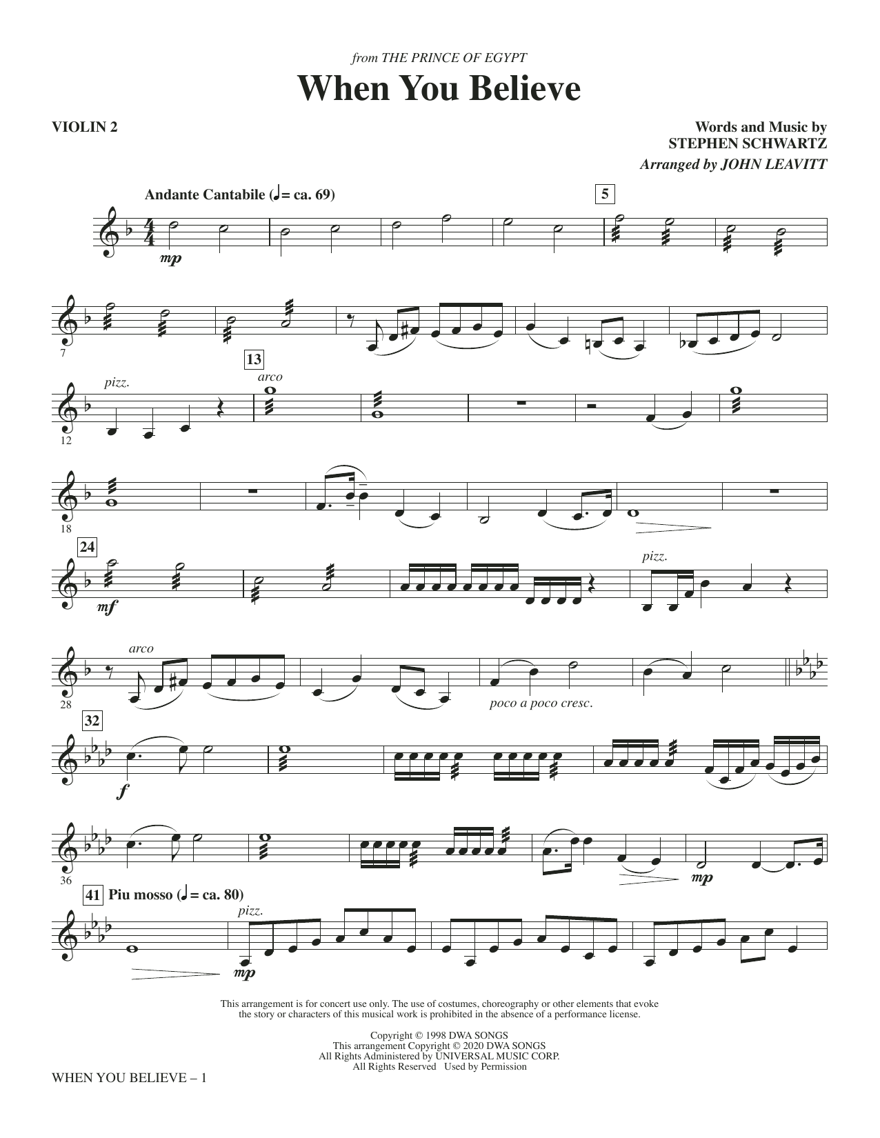 When You Believe (from The Prince Of Egypt) (arr. John Leavitt) - Violin 2 Sheet Music