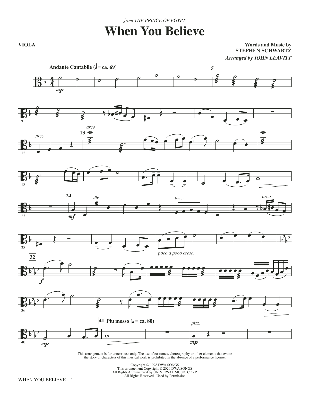 When You Believe (from The Prince Of Egypt) (arr. John Leavitt) - Viola Sheet Music