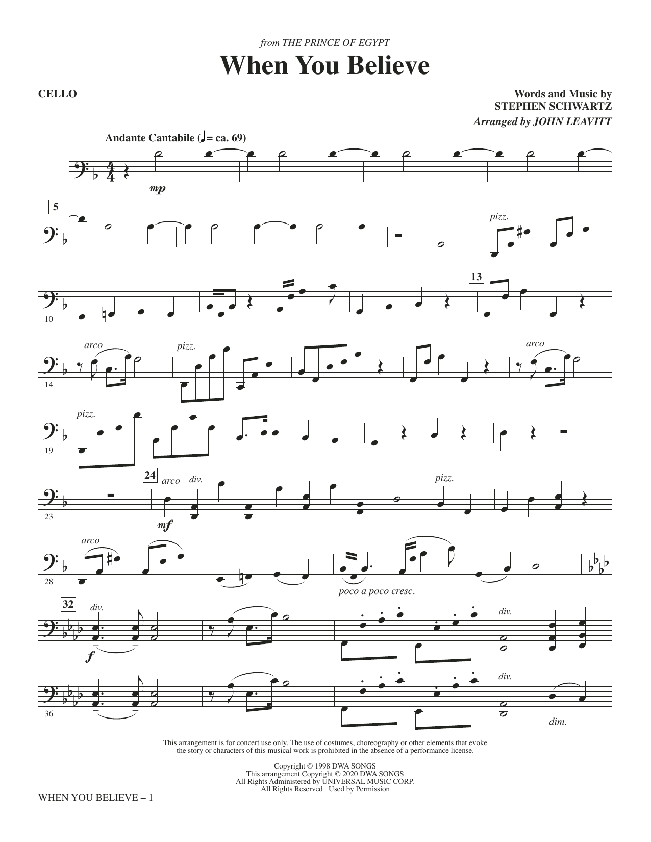 When You Believe (from The Prince Of Egypt) (arr. John Leavitt) - Cello Sheet Music