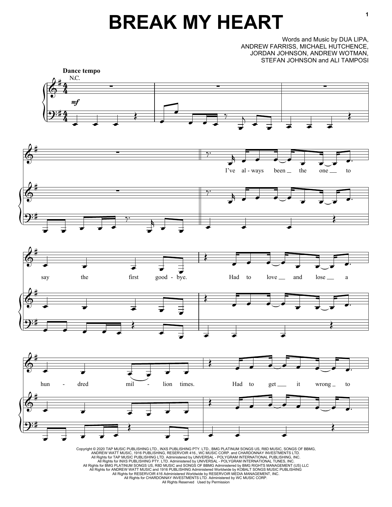 Break My Heart (Piano, Vocal & Guitar (Right-Hand Melody))
