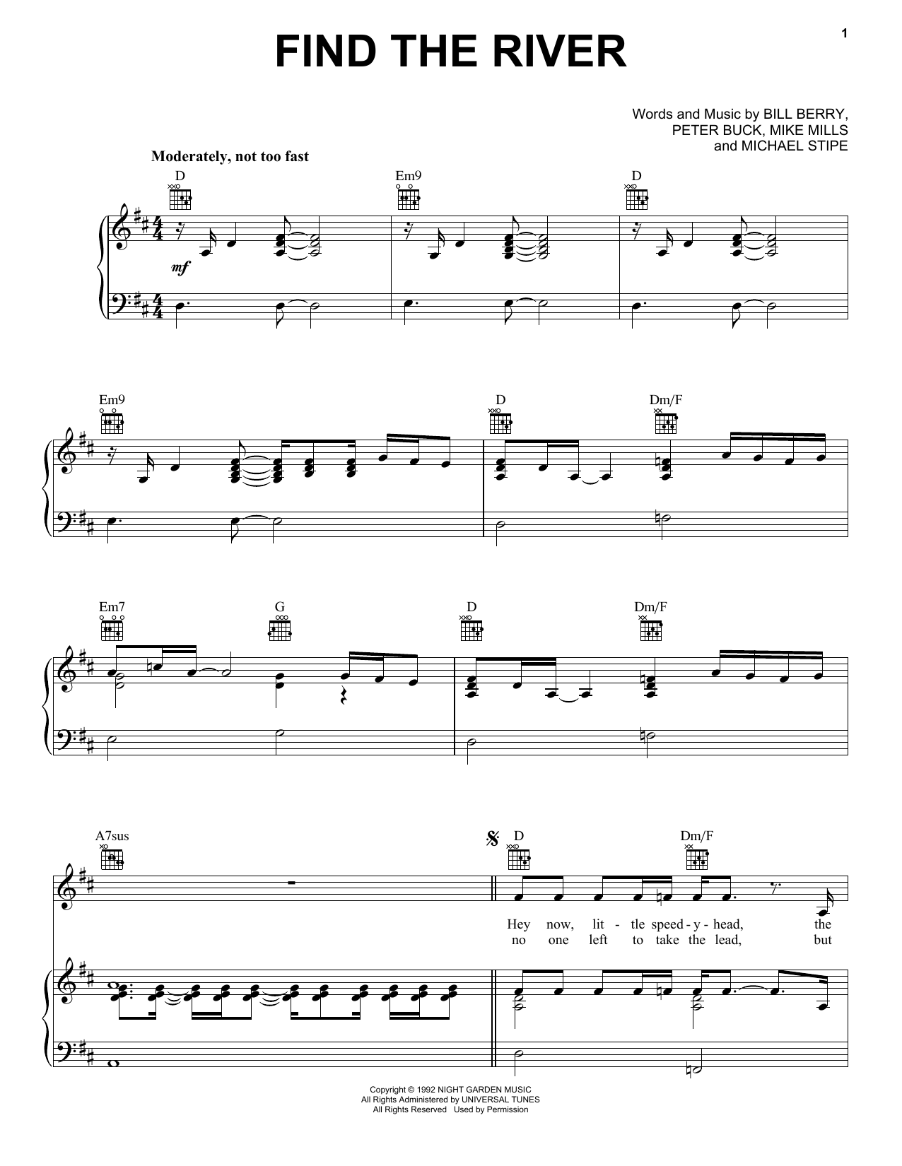 Find The River (Piano, Vocal & Guitar (Right-Hand Melody))