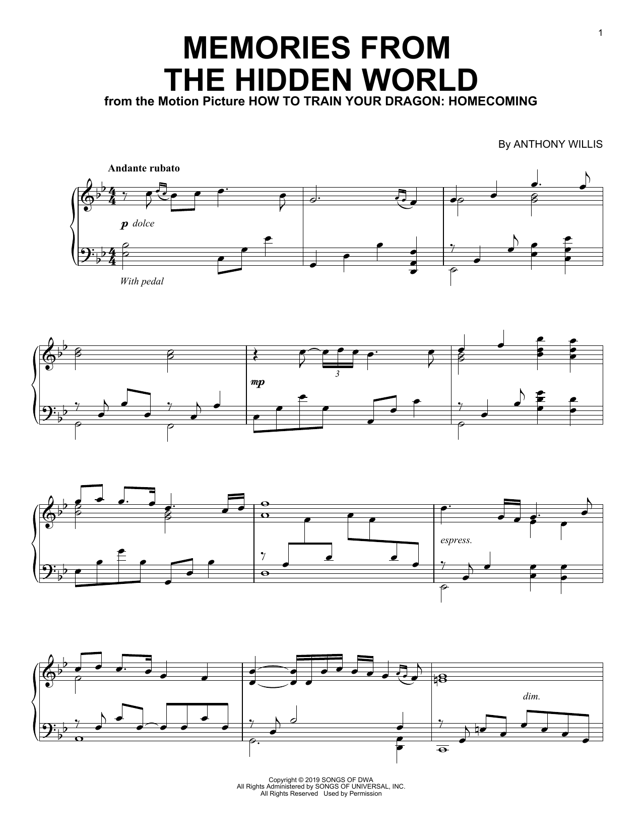Memories From The Hidden World (from How To Train Your Dragon: Homecoming) (Piano Solo)